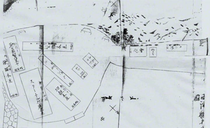 恵美須ヶ鼻造船所古絵図(1856年)。丙辰丸建設時に描かれたもの。左下には石組の防波堤があり、製図小屋,大工小屋などの建物がありました。