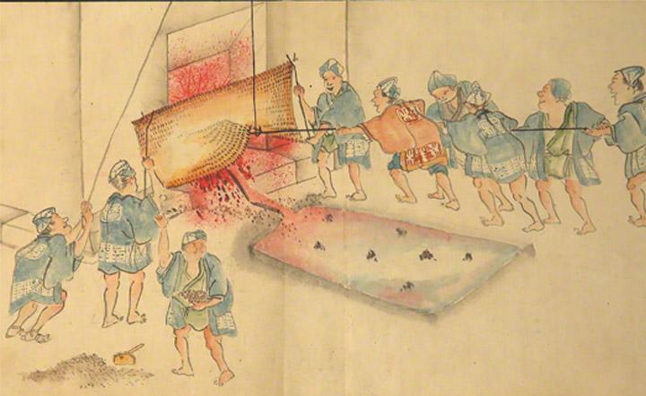 1860 年代に書かれた「紙本両鉄鉱山御山内並高炉之図」。当絵巻は橋野鉄鉱山の見取り図で,原料採掘,製鉄,船舶への積み込みまでの作業工程を完全に示しています。