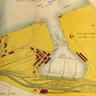 三池港の設計図。干満の差に対応する水圧可動式閘門とドック、南側と北側を防波堤で守られた内港、南北の突堤と航路などから成り立っています。