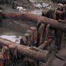 三重津海軍所跡の木組護岸遺構。