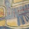 1850年代の絵図で、早江津川沿いにある三重津海軍所を描いたものです。有明海口から6キロ上流にあり、九州西部への海上アクセスには非常に便利な立地でした。しかし、河口に近い立地のため,喫水線の浅い船舶しか利用できませんでした。